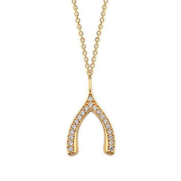 Wishbone 14k Solid Gold Necklace