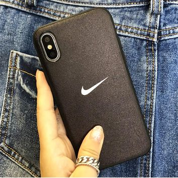 NIKE Fashion New Hook Print Women Men Protective Cover Phone Case Black