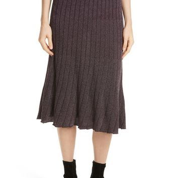 Rebecca Taylor Metallic Ribbed Knit Skirt | Nordstrom