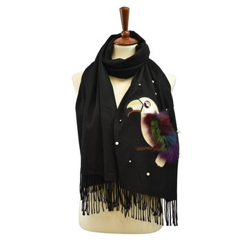 CASHMERE FEEL PARROT PATCH FAUX FUR SCARF