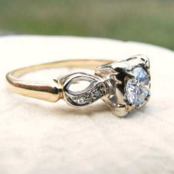 European Cut Diamond Engagement Ring, approx .50 carat Center Diamond, Fine Quality Charming Details, Circa late 1930's to early 1940's