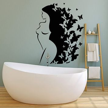 Vinyl Wall Decal Naked Abstract Girl Long Hair Butterfly Art Decor Stickers Unique Gift (2043ig)