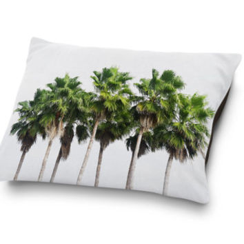 Sand Key Palms - Pet Bed, Beach Green Palm Trees Style Pet Bedding, Surf Tropical Dog & Cat Pet Pillow Bedding Accent. In Small Medium Large