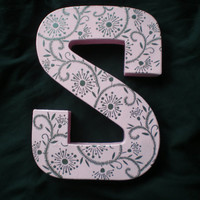 Letter block S  Baby pink S with metallic silver by StarrJoy16