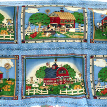DEBBIE MUMM for South Sea Imports/Out of Print Fabric/Large Panel with Farms Depicted/Quilters Cotton Fabric/Unwashed/Great for Quilters