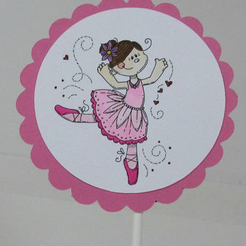 Cupcake topper set of 12 dancing girl birthday ballerina cupcake topper set