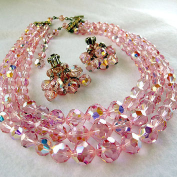 Laguna Crystal Necklace & Earrings - Pink Bead Set
