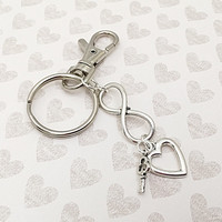 Womens Keychain - Valentine's Day Gift - Infinity Charm - Infinity Keyring - Car Accessory - Silver Keychain - Heart Charm