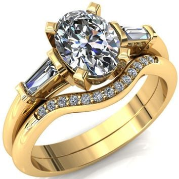 Quinn Oval Moissanite 4 Prong Single Baguette Diamond Side Ring