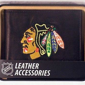 Chicago Blackhawks Embroidered Leather Billfold Wallet NEW in Gift Tin