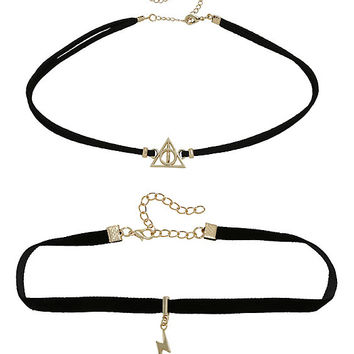 Harry Potter Deathly Hallows Lightning Choker Set