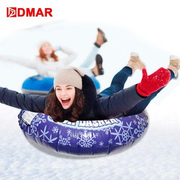 DMAR 85cm Snowflake Snow Tube For Adults Kids Skiing Sled Snow Boogie Ski Board With Handle Snow Tire Slippery Grass Sand Float
