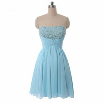 Strapless Sequin Beaded Short Dresses Custom Made A-Line Chiffon