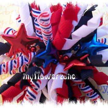 Patriotic Korker Hair Bows Korker Hairbows Blue by MyFlowerZone