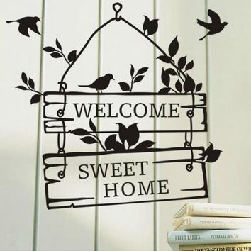 welcome sweet home sign bedroom living room door window say quote word lettering art vinyl sticker decal home decor words