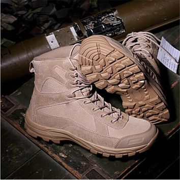 2017 Men's Airsoft Shoot Tactical Hiking Boots Combat Desert Leather Boots Military Fans Black Tan Army Hunting training Shoes