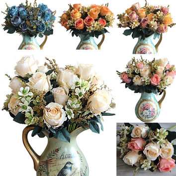 5 colors Artificial Rose flowers decoration fleur artificielle roses artificial flowers Best Wedding decoration Flower