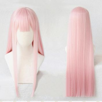 Cool DARLING in the FRANXX Strelizia 02 ZERO TWO 100cm Pink Long Straight Hair Heat Resistant Cosplay Costume Wig + Horn HeadwearAT_93_12