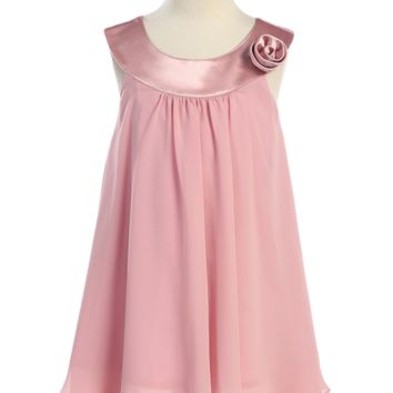 Dusty Rose Chiffon Shift Dress with 2 Tier Hem & Satin Neckline (Girls 2T - Size 14)