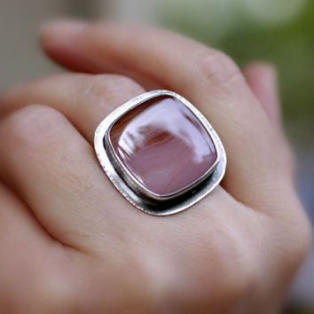 Peach Pink Agate Sterling Silver Ring / Eco-Friendly / Modern/OOAK