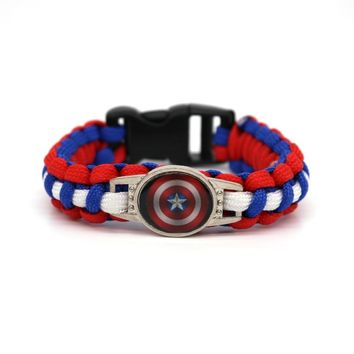 New Captain America Logo Paracord Bracelets Hot Comic Series Rope Chain Fashion Handmade Jewelry for Women Men fans High Quality