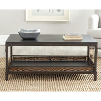 Coffee Table Wood Top living Room Antique Wicker Accent Style Safavieh