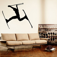 Wall Decal Vinyl Sticker Decals Art Decor Design Skiing Ski Sport Snowboard Mans Gift Extrime Jumping Bedroom Modern Fashion (r1377)