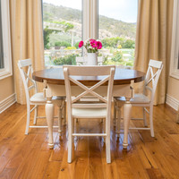 Bronwen Dark Brown & Antique White Dining Table w/ Double Drop Leaf Extension