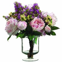 Silk Décor Peony/Lilac/Berry Floral Arrangements, 13-Inch, Pink/Green