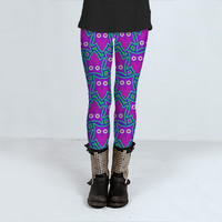 Purple and Turquoise Psychedelic Owl Pattern by Hippy Gift Shop (Leggings)