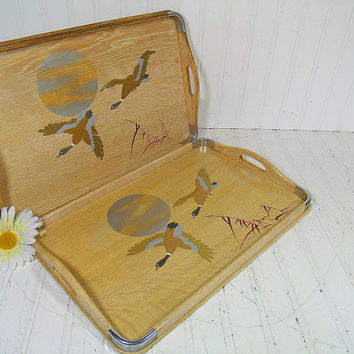 Vintage Hand Painted Wooden Two Handled Serving Trays Set of 2 - Matching Pair Mid Century Blond Wood Center Piece Boards - Made in Japan