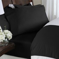 Elegant Comfort 1500 Thread Count Egyptian Quality 4-Piece Bed Sheet Sets, Queen, Deep Pockets, Black
