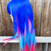 HAPPY HOLIDAYS SALE / Purple, Pink and Blue / Long Straight Layered Wig with Scalp Piece