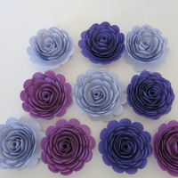 """Shades of Purple Roses Set, 10 big artificial paper flowers, Girl tea party table centerpiece, 3"""" rosettes Twilight birthday theme night sky"""