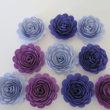 "Shades of Purple Roses Set, 10 big artificial paper flowers, Girl tea party table centerpiece, 3"" rosettes Twilight birthday theme night sky"