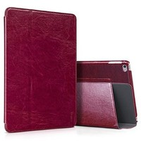 iPad Air 2 Case 2014, Benuo [Heritage Collection] Folio Flip Leather Case Cover [Adjustable Stand View Angles], Retro Leather Case [Super Thin] with Magnetic Closure for Apple iPad Air 2 (Wine Red)