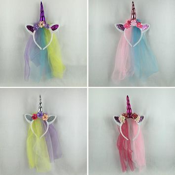 Children Unicorn Chiffon Headband 0123