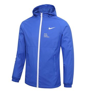 """NIKE"" Fashionable Men Women Casual Print Hoodie Zipper Cardigan Jacket Coat Windbreaker Blue"