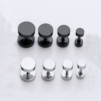 1 Pair  Round Circle Titanium Stud Earrings  Punk Barbell Dumbbell Double Sided Piercing Earrings for woman
