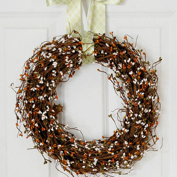 Pip Berry Wreath, Front Door Wreath, Orange White Green, Summer Wreath, Fall Wreath, Indoor Wreath, Country Wreath, Rustic