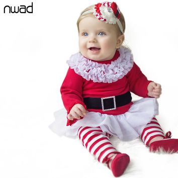 Toddler Girl Christmas Clothing Sets Red Striped Long Sleeve Striped Outfit