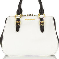 Miu Miu | Madras leather tote | NET-A-PORTER.COM