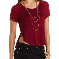 Jersey Knit & Chiffon High-Low Tee by Charlotte Russe