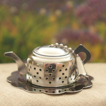 Teapot Tea Strainer, Stainless Steel Teapot Shaped Tea Infuser, Loose Tea, Tea Party, Birthday Gift,housewarming gift, Bridesmaid Gift