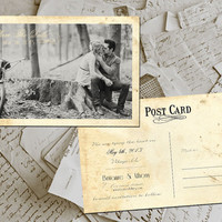 "50 Wedding Save The Date Cards - SidsPark Vintage Photo Personalized 4""x6"""