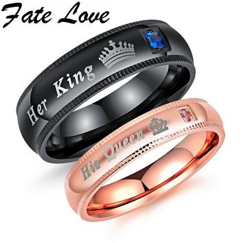 Cool Fate Love Engagement Promise Ring Bands Her King And His Queen Stainless Steel Wedding Rings For Women Men Anel Masculino FL606AT_93_12