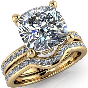Nori Cushion Moissanite 4 Prong Half Eternity Engagement Ring