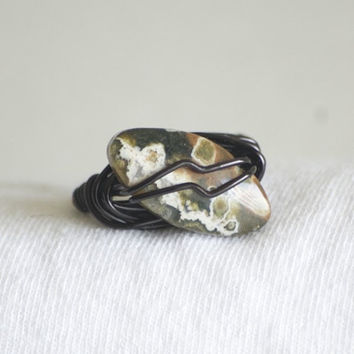 Wire wrapped jasper – Black wire ring – wire wrapped ring – Jasper stone – hippie ring – boho ring – boho jewelry – bohemian ring – black
