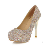 Women Wedding Shoes Luxury Glitter Round Toe Thin Heels Women Pumps Big Size 34-43 Ladies Bridal Shoes Sexy Women Evening Pumps