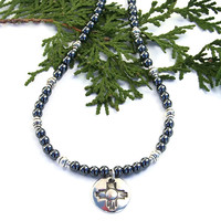 Zia Sun Necklace with Hematite, New Mexico Handmade Sterling Jewelry